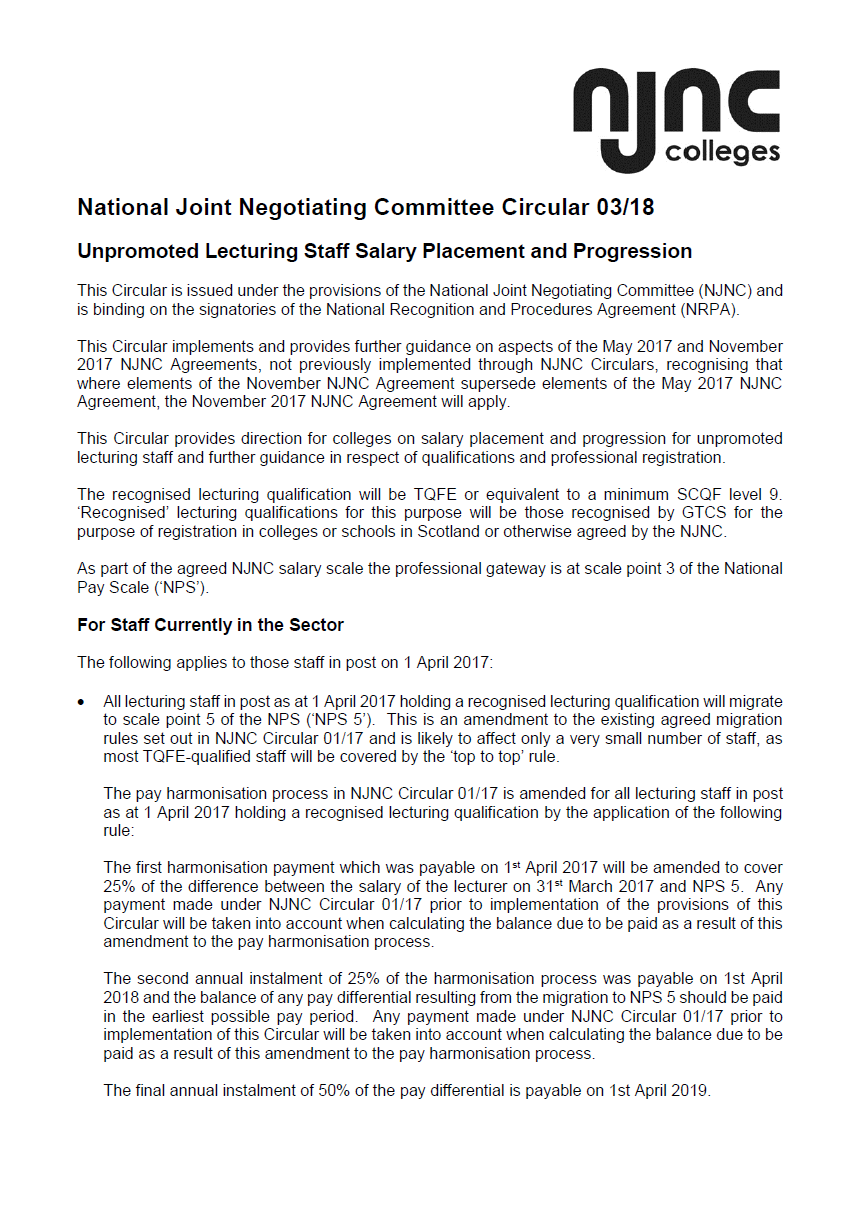 NJNC Circulars Issued to Colleges