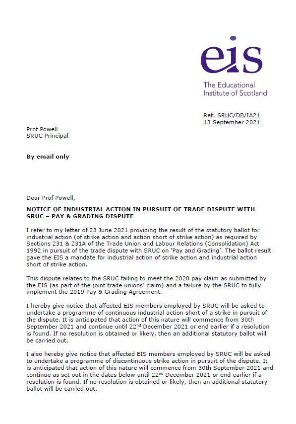 Industrial Action Notice