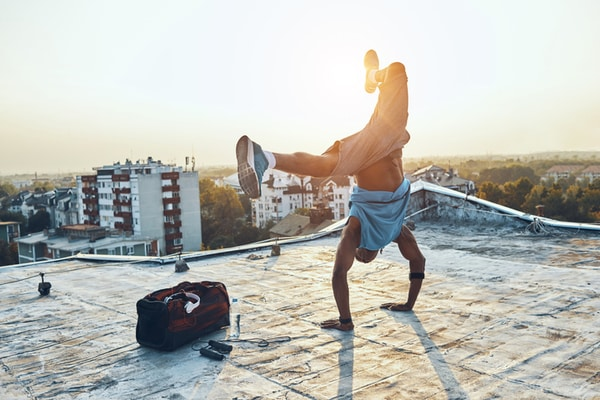 Breakdancer on a roof