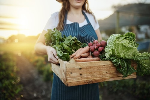 Girl with crate of vegetables