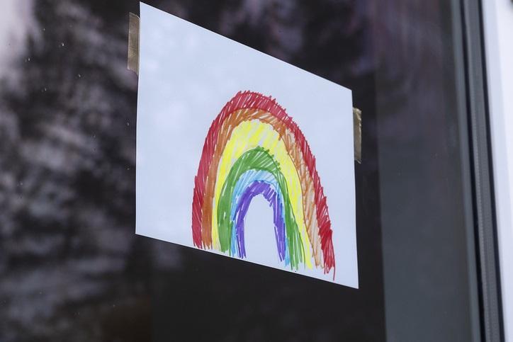 Rainbow drawing in a window
