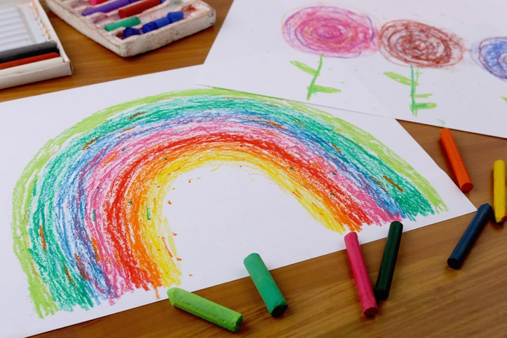 Rainbow drawn with Crayons