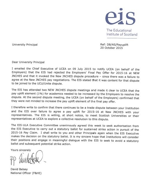 EIS Letter sent to HEIs re pay dispute and strike action - 20.10.15 cover and download